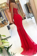 Red Awesome Strapless Sleeveless Appliques Lace Trumpet/Mermaid Long Tulle Prom Dresses