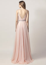 A-line/Princess V-neck Beading Long Formal Pink Prom Dresses