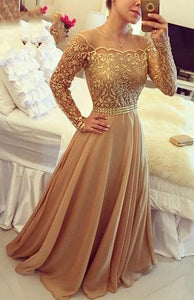 Adorable Off-the-Shoulder Long/Floor-length Natural Chiffon Prom Dresses