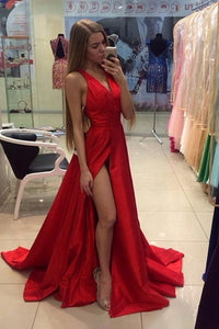 Astounding A-line/Princess V-neck Sleeveless Long Prom Dresses
