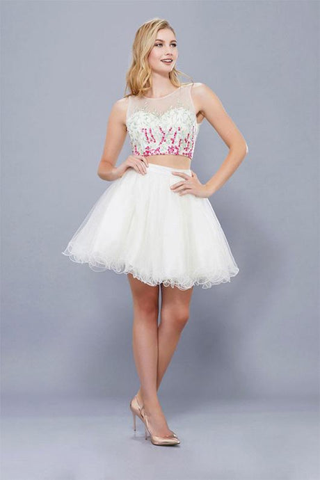 A-line/Princess Two-Piece Beading Short Formal Cocktail Dresses