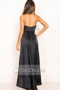 Black Spaghetti Straps V-neck High Low Maxi Dresses