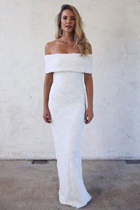 Ivory Off-the-Shoulder Sheath Lace Wedding Dresses