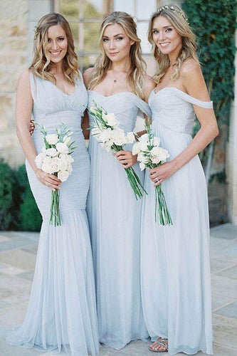 Ice-Blue Bridesmaid Dresses