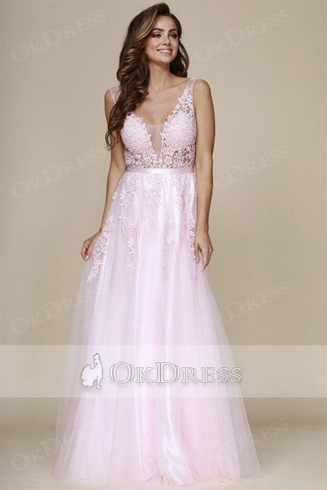 A-line V-neck Long Tulle & Lace Long Formal Candy Pink Prom Dresses