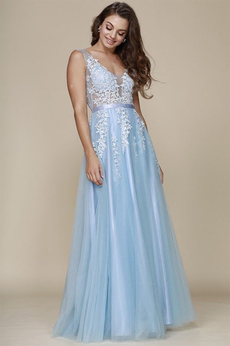 A-line V-neck Long Tulle & Lace Long Formal Sky Blue Prom Dresses