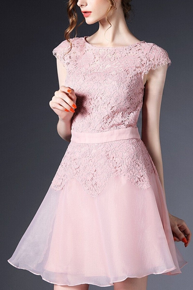A-line Cap sleeve Short Lace Formal Prom Dresses