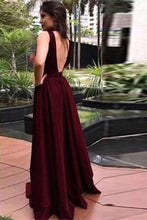 Burgundy V-Back Long Prom Dress A-LineParty Evening Gown