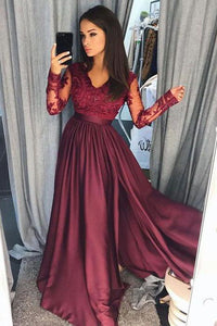Burgundy A-Line V-Neck Lace Top Long Prom Dresses with Long Sleeves