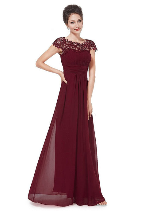 Burgundy Elegant Cap Sleeves Long Chiffon Formal Dress