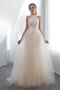Halter Sleeveless Tulle Bridal Dresses with Lace Appliques