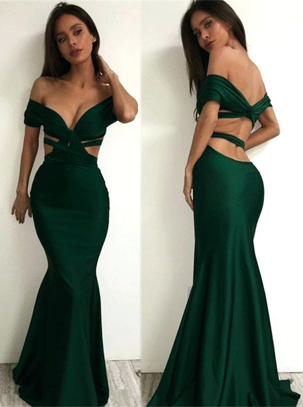 Dark Green V-neck Mermaid Sexy Prom Dresses