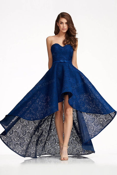 443fda185a2ec Sexy Lace High-low Strapless Sweetheart Evening Dresses