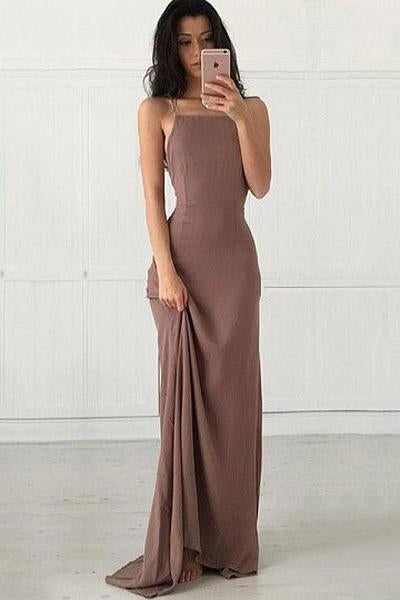 Sheath/Column Square Neckline Chiffon Sexy Prom Dresses