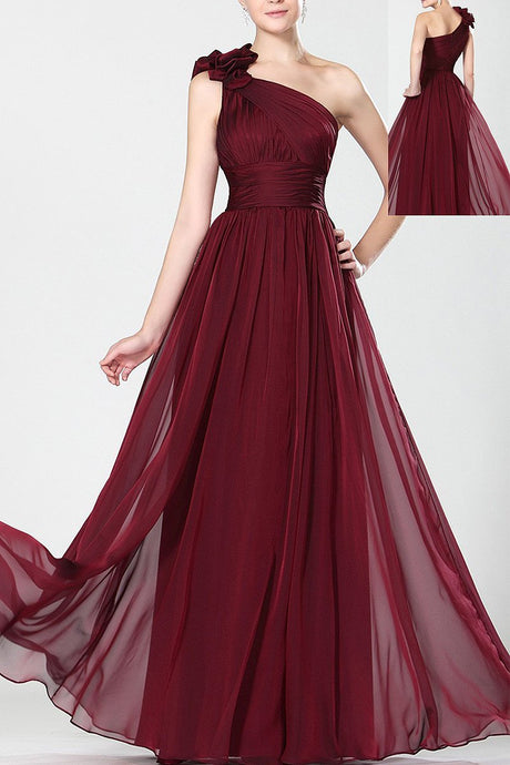 A-Line Sleeveless One-shoulder Burgundy Maxi Formal Dresses