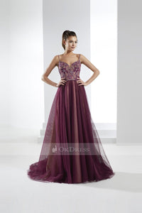 Marvelous Tulle Sleeveless Sweetheart Spaghetti Straps Prom Dresses