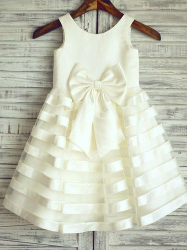 Wonderful Zipper Organza Ivory A-line Scoop Flower Girl Dresses