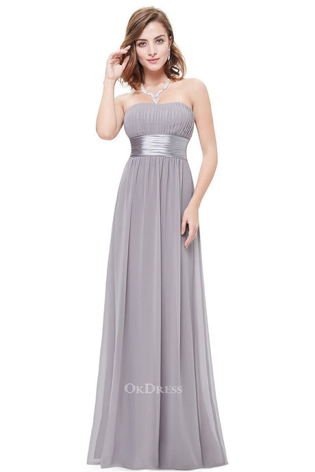 Silver Chiffon A-line Strapless Long Prom/Bridesmaid Dresses