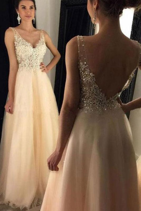 Glamorous V-Neck Tulle Appliques Lace Backless Prom Dresses