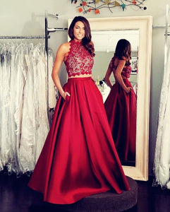 Ball Gown Sleeveless Criss-cross Beading Long Red Satin Prom Dresses