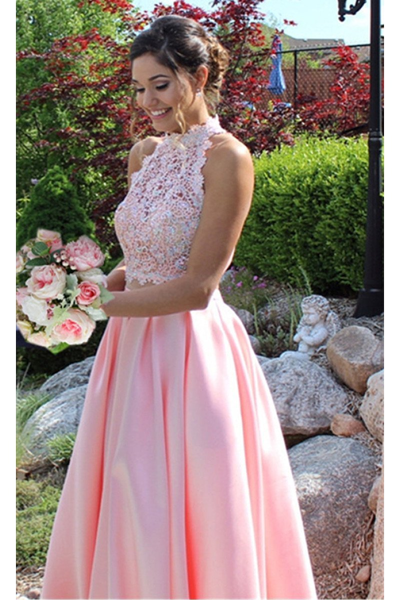 Ball Gown Sleeveless Criss-cross Beading Long Pink Satin Prom Dresses