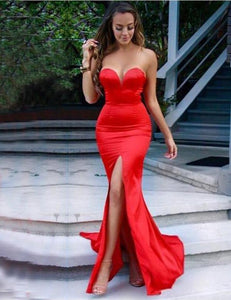 Trendy Strapless Red Mermaid Sweetheart Satin Prom Dresses with Slit