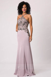 Unique Embroidered Halter Long Evening Dresses