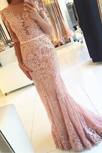 Pink Incomparable 1/2 Sleeves Trumpet/Mermaid Sweep Train Evening Dresses