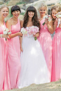 Fashionable Floor-length One-shoulder Chiffon Bridesmaid Dresses
