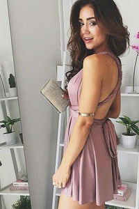 A-Line Deep V-Neck Criss-Cross Straps Short Stretch Satin Homecoming Dresses