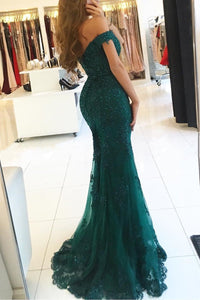 Green Shiny Off-the-shoulder Sweetheart Trumpet/Mermaid Long Evening Dresses