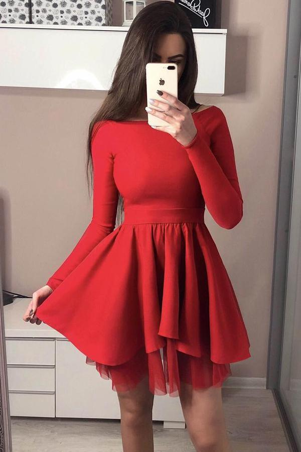 Red Short Homecoming Dresses with Long Sleeves