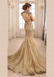 Admirable High-neck Natural Court Train Prom Dresses