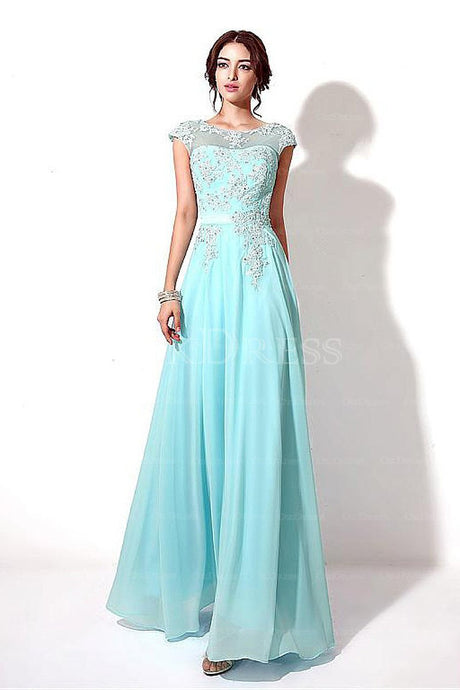 Fashion Lace Applique Beading Cap Sleeves Lace-up Long Chiffon Prom Dresses