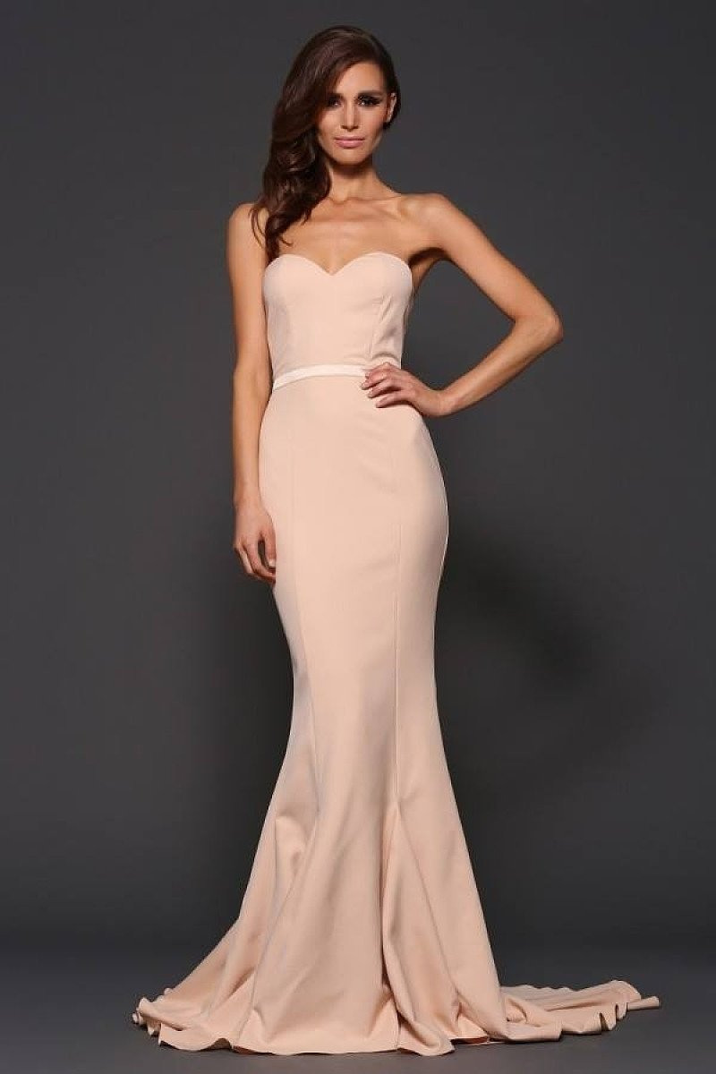 Strapless Trumpet/Mermaid Sweetheart Sleeveless Sweep Train Pearl Pink Prom Dress