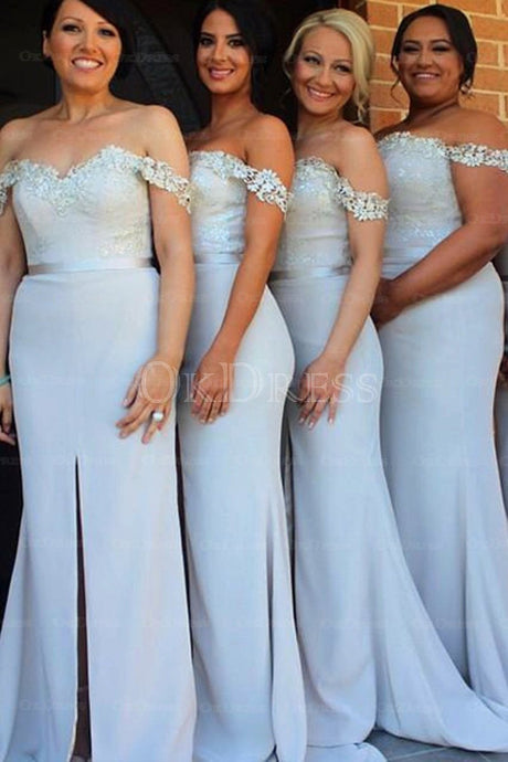Marvelous Sweep/Brush Train Lace Natural Bridesmaid Dresses