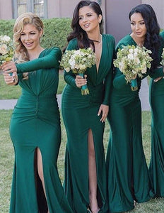 Astonishing Natural V-neck Ruffles Satin Bridesmaid Dresses