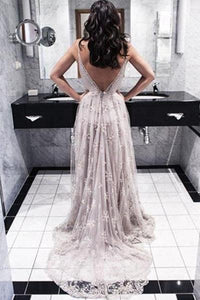 Sexy A-line V-neck Lace Court Train Backless Prom Dresses