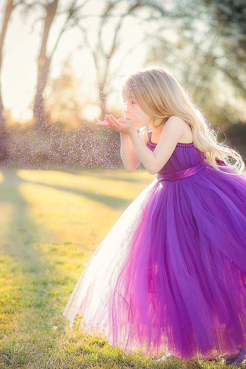 Perfect Natural Floor-length Purple Tulle Flower Girl Dresses