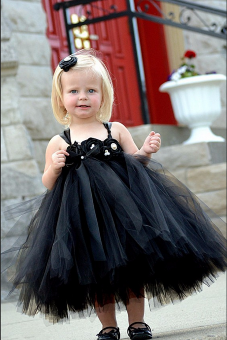 Lovely Princess Empire Tulle Flower(s) Zipper Tutu Flower Girl Dresses