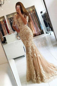 Champagne Incomparable 1/2 Sleeves Trumpet/Mermaid Sweep Train Evening Dresses