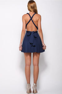 Deep V-Neck Criss-Cross Straps Short Stretch Satin Dark Navy Homecoming Dresses