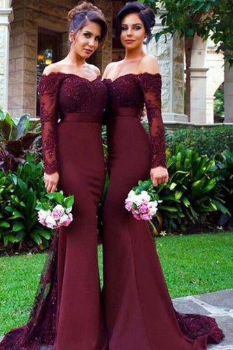Lace & Satin Mermaid Bridesmaid Dresses