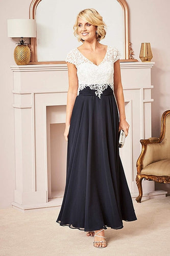 A-line V-neck Cap Sleeves Long Mother of the Bride Dresses