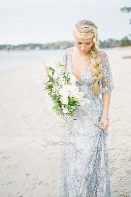 Bohemian Sheath/Column V-neck Floor-length Half Sleeved Wedding Dresses