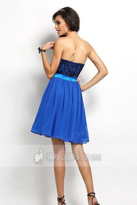 Strapless Sweetheart A-line Lace Top Chiffon Short Prom Bridesmaid Dresses