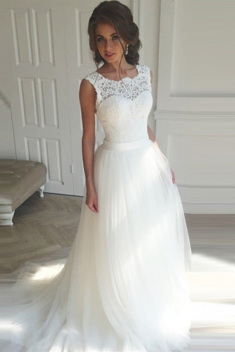 Lace-up Natural Sleeveless White A-line/Princess Wedding Dresses