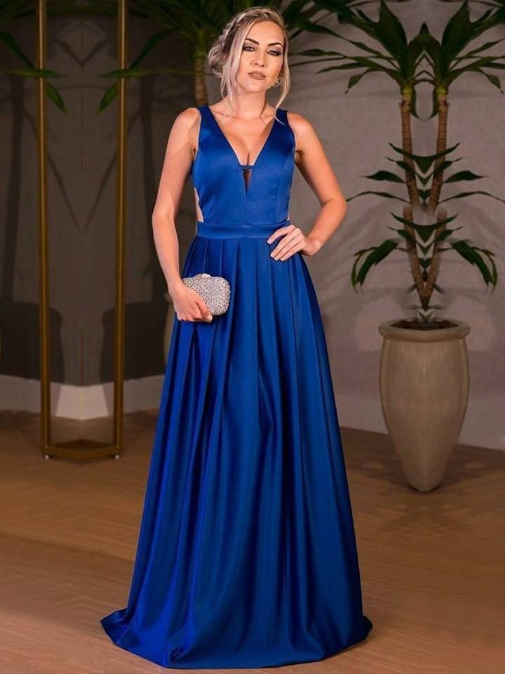 A-line V-neck Royal Blue Satin Prom Dresses