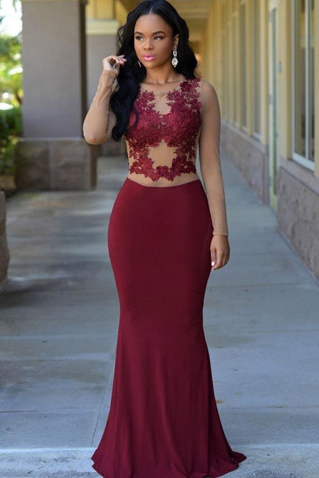 Scoop Neck Jersey Floor-Length Burgundy Dresses