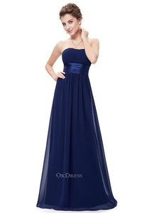 Dark Navy Chiffon A-line Strapless Long Prom/Bridesmaid Dresses